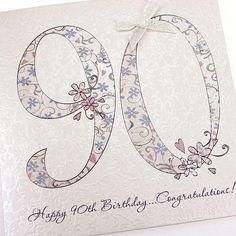 Handmade Beautiful Chic 90th Birthday Card