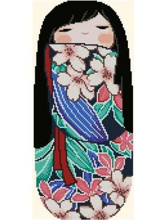 Japanese Kokeshi Doll 1 SAKURA by CrossStitchRinna on Etsy