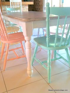 Restyled Vintage: Rainbow Pastels Dining Suite