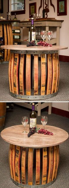 Wine Barrel Stave Coffee Table for our chair! Wine Barrel Coffee Table, Barrel Table, Diy Cork, Wine Barrel Crafts, Barris, Barrel Projects, Wine Barrel Furniture, Wine Decor, Diy Furniture