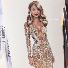 Discovered by Find images and videos on We Heart It - the app to get lost in what you love. Wedding Dress Illustrations, Wedding Illustration, Fashion Illustration Dresses, Fashion Sketches, Fashion Illustrations, Watercolor Fashion, Fashion Painting, Dress Design Drawing, Weird Fashion