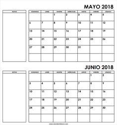 Calendario Mensual Mayo Junio 2018