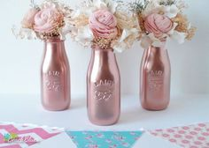 Items similar to Mother's Day Decor COPPER Painted Milk Bottles Baby Shower Decor Pink Wedding Decor Home Decor Vase Rose Gold Decor Pink Girl on Etsy Shower Party, Baby Shower Parties, Shower Gifts, Baby Showers, Bridal Shower, Baby Shower Centerpieces, Wedding Centerpieces, Centerpiece Ideas, Pink Table Decorations
