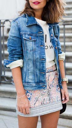 Feline meow shirt + jean jacket + skirt