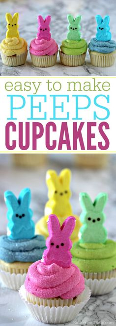 These Peeps Cupcakes are adorable.  Easy Easter Cupcakes to make in minutes. Peeps cupcakes are now our favorite Easter Dessert Recipe. Easter Treats, Easter Food, Easter Baking Ideas, Easter Peeps, Easter Stuff, Peeps Recipes, Easter Recipes, Easy Easter Desserts, Cupcake Recipes