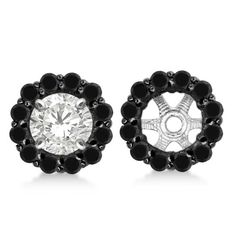 14k Gold 1.00ct Round Cut Fancy Black Diamond Earring Jackets