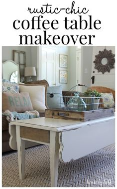 Coffee Table Makeover - House by Hoff. Never seen a drop leaf coffee table - maybe cut the legs off a kitchen table? I love the idea of leafs! Coffee Table Makeover, Kitchen Table Makeover, Shabby Chic Kitchen, Shabby Chic Homes, Diy Kitchen, Shabby Chic Furniture, Home Furniture, Coastal Furniture, Kitchen Furniture