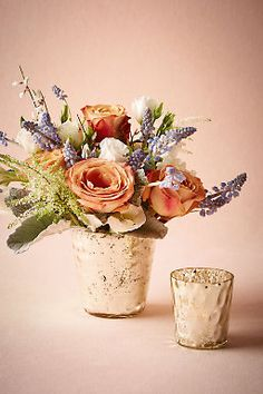 Hammered mercury votives floral