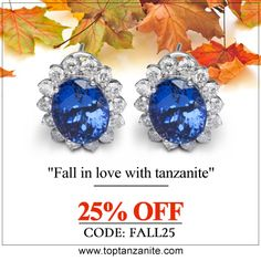 Round #TanzaniteEarrings With Diamonds in 14k White Gold. Get 25% OFF Use Code #FALL25