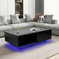 HIGH GLOSS BLACK Coffee Table with LED Lighting - Tiffany Range TIFF010 - £229.97 | PicClick UK Desk In Living Room, Living Room Storage, Table Storage, Living Room Furniture, Home And Living, Led Furniture, Drawer Storage, Dining Room, Coffee Table With Drawers