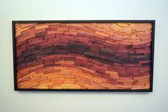 "wood wall art - ""SUNSET STREAK"" - wall art, wood art, wooden wall art, large wall art, orange, red, curvy"