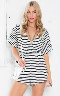1c822234a31 Showpo Breakout Playsuit in Black And White Stripe - 12 (L) Rompers