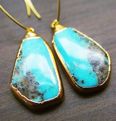 Sleeping Beauty Turquoise Earrings 14k Gold by friedasophie