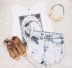 Graphic tees, ripped jeans, sandals, and flower crowns
