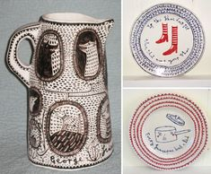Vicky Lindo free-hand drawings on ceramics