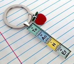 Elements of a Teacher keychain-excellent gift idea for any science teacher! www.craftyaddictions.com