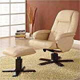 Coaster Furniture Leisure Chair and Ottoman Set Ivory All chair styles swivel with Swivel Recliner Chairs, Recliner With Ottoman, Leather Chair With Ottoman, Upholstered Swivel Chairs, Chair And Ottoman Set, Swivel Glider, Chair Cushions, Glider Chair, Leather Recliner