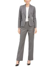 Le Suit Womens Plus Office Wear Denim Pant Suit
