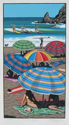 Coastal Carnival Print by Tony Ogle for Sale - New Zealand Art Prints Nz Art, Art For Art Sake, Painting Prints, Art Prints, Beach Paintings, Parasols, Umbrellas, New Zealand Landscape, New Zealand Art
