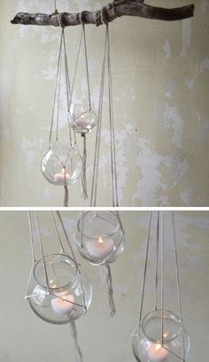 Rustic Tree Branch Candle Hanger 27 DIY Rustic Decor Ideas for the Home DIY Rustic Home Decorating on a Budget