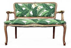 How to incorporate the tropical trned into your interior. French Settee Loveseat Love Seat Dining Chairs Upholstered in Green White Palm Leaves Fabric Butterfly Butterflies Upholstery Tropical
