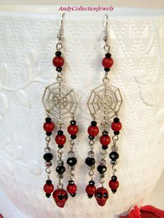 Halloween Spooky Spiderweb Dangle Earrings with Black and Burgundy Skull by AndyCollectionJewels Halloween Men, Halloween Jewelry, Dangle Earrings, Dangles, Burgundy, Women Jewelry, Skull, Polyvore, Etsy