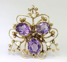 Vintage amethyst pearl pin brooch pendant 14K yellow gold oval 6.0CT 2.7MM 7.8GM