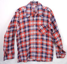 a2b241ab Vintage 70s Red Blue Flannel Plaid Shirt M Sears Big Collar Western NWOT NOS