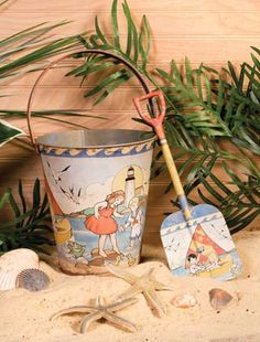 Vintage Beach Sand Pail and Shovel Vintage Beach Sandpail and Shovel  - $20.00 : Enchanted Cottage Shop, For Gifts Antiques Reproductions Collectables and Home Decor