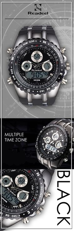 Men's Black Military LED quartz watches - Readeel luxury sport timepiece watch - Men's wear brand style fashion affordable accessories #menswatches #watches #mensstyle #mensaccessories #menstyle #menswatchesmilitary #menswatchesfashion #mensaccessoriesfashion #menaccessories