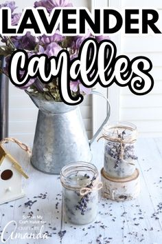 We'll show you how easy it is to use dried lavender stems to make these pretty floral DIY Lavender candles in mason jars. Best Candles, Diy Candles, Lace Candles, Homemade Candles, Homemade Gifts, Mason Jar Crafts, Mason Jars, Lavender Candles, Food Stamps