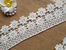 White Lace Trim Cotton Lace Trim Daisy Flowers by prettylaceshop, $4.39