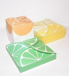 Citrus themed gift boxes in three sizes and three colors.