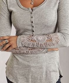 Gray Arm Detail Blouse