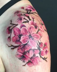 Native to Asia and can also be found in China, South Korea and India, cherry blossom trees aka Sakura in Japan, look gorgeous with their small pink or Cross Shoulder Tattoos, Shoulder Tattoos For Women, Sleeve Tattoos For Women, Tattoos For Guys, Men Tattoos, Tatoos, Flower Tattoo Back, Flower Tattoo Shoulder, Back Tattoo