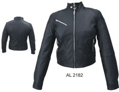 Ladies riding jacket with two zipper chest pockets silver hardware    http://www.srethng.com/al2182.php  Allstate Leather AL 2182 Ladies Riding jacket with two zippered chest pocket silver hardware This is the top of the line leather, durable and will serve you will for years. Cowhide leather jacket that will keep the wind off and provides the protection you would expect from cowhide.