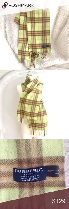 """BURBERRY LONDON   100% CASHMERE SCARF   NOVA CHECK Pale / Light green w/tan & brown.  Classic nova check.  Fringe on ends.  Comes from smoke free & pet free home.  Was recently dry cleaned.  100% cashmere.  7.5"""" width. Burberry Accessories Scarves & Wraps"""