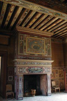 Le Château de Gizeux (37) - cheminée François 1er Painted Ceiling Beams, Ceiling Painting, Architecture Classique, Fireplace Art, Saumur, Vintage Stoves, Château Fort, French Chateau, Apartment Interior Design