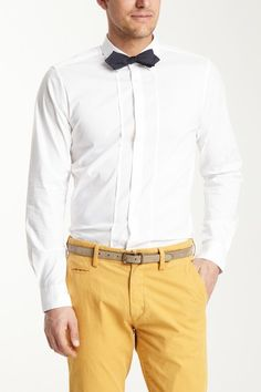 love the yellow pants paired with white shirt and black bowtie - Shoreditch Collar Long Sleeve Shirt