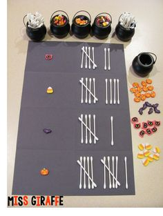 Halloween Math Ideas for kindergarten and first grade - Tally bones graphing with Halloween mini erasers and lots of other fun activities!
