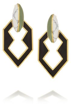 Eddie Borgo gold plated, new jade and howlite earrings