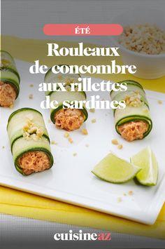 Une recette salée pour un apéritif estival : les rouleaux de concombre aux rillettes de sardines.  #recette#cuisine#aperitif#aperos #concombre #sardine #ete Zucchini, Mario, Vegetables, Food, Cucumber Rolls, Vegetable Tian, Essen, Vegetable Recipes, Meals