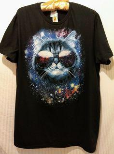 152dbc5f6 NWT DELTA SOFT Black Tshirt Cat w/Aviator Sunglasses&Galaxy Size Large # fashion #clothing