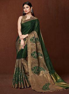 Mouni Roy Green Cotton Festival Wear Saree 96469