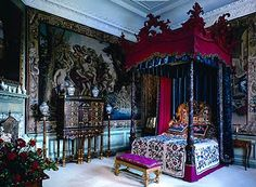 "The ""Blue Silk Bedroom"" in Burghley House, Lincolnshire."