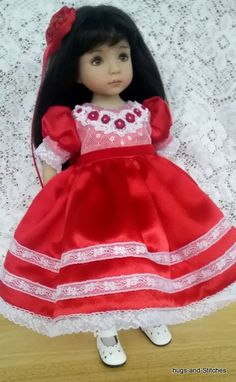 """""""Red Satin, Roses & Lace"""" Dress by Eileen for Dianna Effner Little Darling 13"""""""