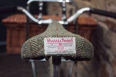 Harris Tweed bike seat. His ass would match his head.