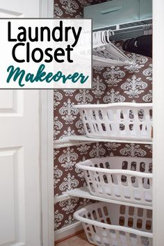 Small Laundry Closet Makeover with organization and ideas to make a tiny laundry room functional and more organized! Small Laundry Closet, Laundry Closet Organization, Laundry Closet Makeover, Tiny Laundry Rooms, Laundry Room Shelves, Laundry Room Cabinets, Organization Ideas, Organizing, Blogger Home
