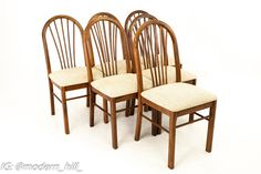 Dinaire Mid Century Walnut Dining Chairs - Set of 6 Each chair measures: 18 wide x 18 deep x 38 high All furniture can be had in what we call Restored Vintage Condition. This means the piece is restored upon purchase so it's free of watermarks, chips or deep scratches with color loss - all at no additional cost to you, but it takes a bit longer to ship if you choose to have it restored.