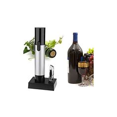 Rechargeable Corkscrew Wine Opener with Infrared Thermometer  Black  Silver * Learn more by visiting the image link.